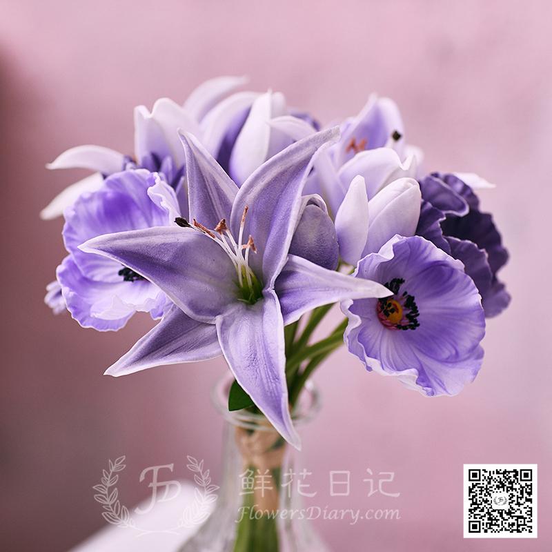 PU手感百合杂束仿真花套装 紫/绿/粉/白